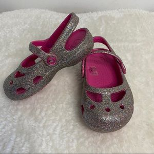 Girls Glitter Crocs Pink and Silver Size 7 toddler